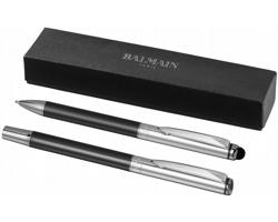 Kovová sada kuličkového pera a stylus Balmain VINCENZO v dárkové kazetě - středně šedá