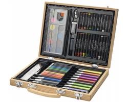 Sada na malování APPLETON v dřevěném kufříku, 67 ks - přírodní