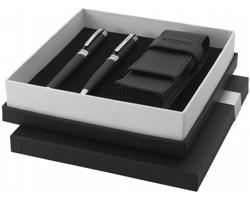 Dárková sada pera a rolleru Balmain BALLPOINT PEN GIFT SET s pouzdrem v designu uhlíkového vlákna - černá