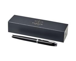 Kovové plnící pero Parker MANED se zlatým dekorem - černá / chromovaná
