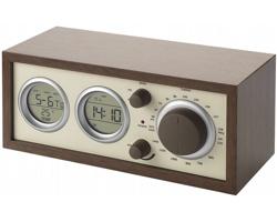Klasické dřevěné rádio DOTED s teploměrem - hnědá