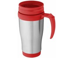 Nerezový termohrnek UNAPT s posuvným víčkem, 330 ml - stříbrná / červená