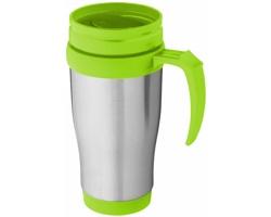 Nerezový termohrnek UNAPT s posuvným víčkem, 330 ml - stříbrná / jemně zelená
