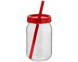 Tritanová zavařovací sklenice FARE s barevným víčkem, 750 m - transparentní / červená