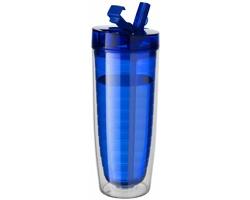Akrylová termoláhev SNELL s víčkem 2v1 pro horké i studené nápoje v exkluzivním designu a dárkové kazetě, 570 ml - transparentní modrá