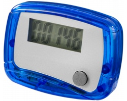 Plastový krokoměr SEGNI s klipem na opasek - modrá / bílá