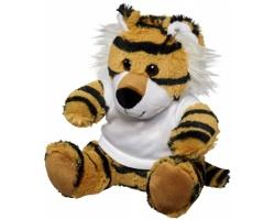 Plyšová hračka tygr AMYL v tričku - bílá