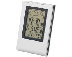 Stolní meteostanice MAINS s LCD diplejem - stříbrná