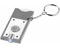 Přívěsek na klíče CHIP s žetonem do vozíku a LED svítilnou - bílá / stříbrná