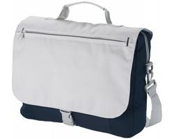 Polyesterová konferenční taška FASHION s ramenním popruhem a organizérem pod klopou - námořní modrá / šedá