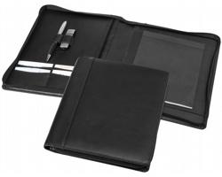 Kožené konferenční desky PURE A5, s poznámkovým blokem - černá