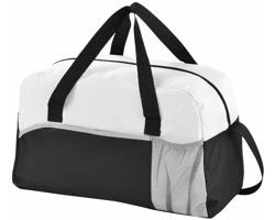 Plátěná sportovní taška DEARS s kapsou na láhev - černá / bílá