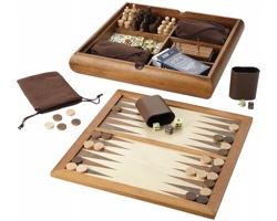 Dřevěná hra LONGVILLE 6-v-1 v exkluzivním designu a baleno v dárkové kazetě, 6 her - hnědá