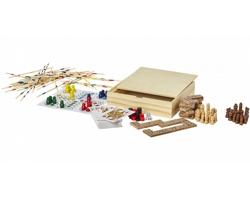 Dřevěná sada stolních her APISH v krabici, 8 her - hnědá
