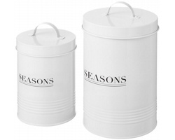Sada kovových dekorativních kuchyňských dóz Seasons PORTO, 2 ks - bílá