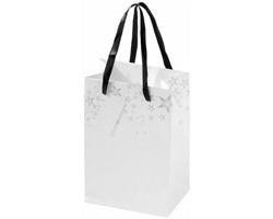 Papírová dárková taška FLEWS s vánočním dekorem a komplimentkou - bílá / šedá