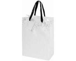 Papírová dárková taška APACE s vánočním dekorem a komplimentkou - bílá / šedá