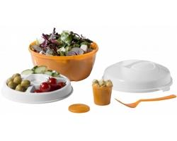 Plastová cestovní sada na salát PUIS - oranžová / bílá