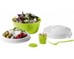 Plastová cestovní sada na salát PUIS - jemně zelená / bílá
