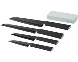 Čtyřdílná sada nerezových nožů Marksman ELEMENT KNIFE SET AND WHETSTONE s brouskem - černá