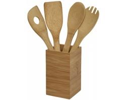 Bambusová sada kuchyňského nářadí AGING, 4 komponenty se stojánkem - hnědá