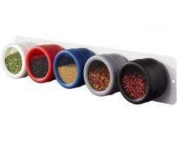 Sada barevných kořenek TASTE s magnetickým držákem, 5 ks - černá