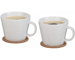 Sada keramickým espresso šálků ANNETT s korkovými podtácky, 275 ml - bílá