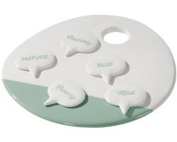 Keramický servírovací tác na sýry HEROS - bílá / zelená