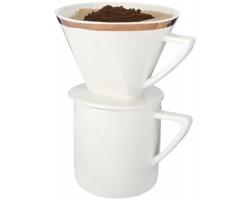 Sada na přípravu překapávané kávy DRIPPER, 350 ml s keramickým hrnečkem - bílá