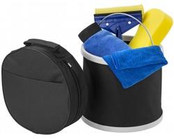 Šestidílná sada k mytí aut CLEARY se skládacím kyblíkem - černá