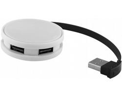 Skládací kulatý USB hub TEAMS se 4 porty - bílá / černá