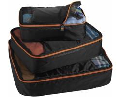 Sada skladných tašek PLED pro efektivní balení, 3 ks - černá / oranžová