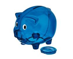 Plastová pokladnička OSWALD ve tvaru prasátka - transparentní modrá