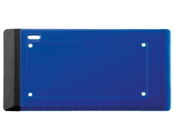 Plastová škrabka na dálniční známky VIGNETTE se stěrkou a čistícím ubrouskem - modrá