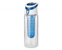 Plastová sportovní láhev s infuzérem na ovoce INFUSER, 700 ml - transparentní modrá