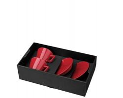 Porcelánová sada HORACIO s šálky a podšálky, 2ks, 150 ml - červená