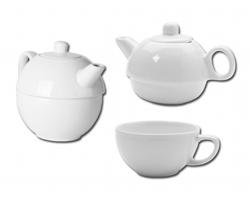 Porcelánová konvička TEASET 2 in 1 se šálkem - bílá