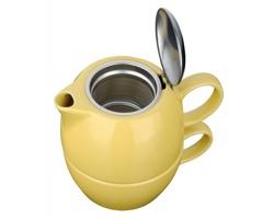 Keramická konvička COLE se sítkem na čaj a šálkem, 400ml - žlutá