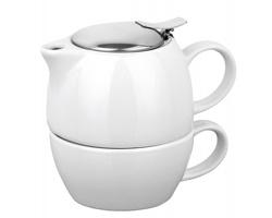 Keramická konvička COLE se sítkem na čaj a šálkem, 400ml - bílá