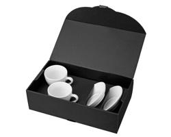 Sada keramických šálků s podšálky IMRE v dárkovém balení, 150 ml - bílá