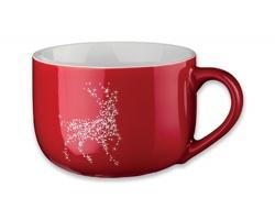 Keramický hrnek CHUBBY CHRISTMAS s vánočním motivem, 400 ml - červená