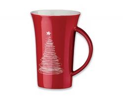 Keramický hrnek WALT CHRISTMAS s motivem vánočního stromku, 330 ml - červená