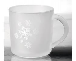 Skleněný hrnek s vánočním motivem SOFFY CHRISTMAS, 200ml - transparentní bílá