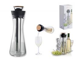 Skleněná karafa na bílé víno DIANDRA s prostorem pro uložení ledu, 800 ml - černá