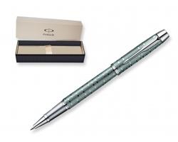 Kovové keramické pero s černou náplní Parker PREMIUM ROLLER v dárkové krabičce - šedá-zelená