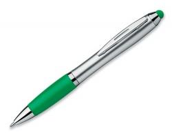 Plastové kuličkové pero ARNIE se stylusem - transparentní zelená