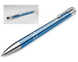 Kovové kuličkové pero OLEG SLIM STYLUS s funkcí touch pen - světle modrá
