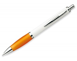 Plastové kuličkové pero DIGIT - transparentní oranžová