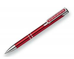 Kovové kuličkové pero OLEG CHRISTMAS s vánoční dekorem sněhových vloček - červená