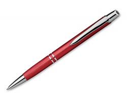Kovové kuličkové pero MARIETA BRUSH s modrou náplní s nízkou viskozitou - červená